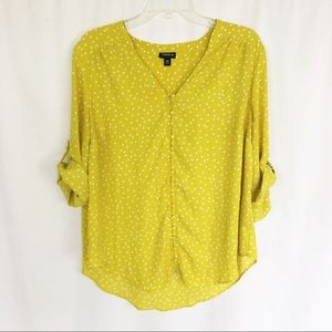 Torrid polka dot chartreuse button front top 00